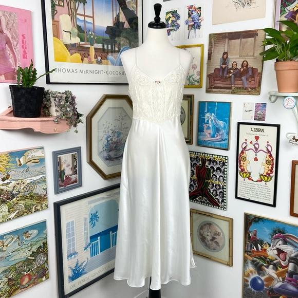 Vintage Lace Beaded Maxi Slip Dress